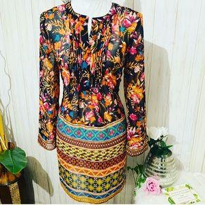 Eci New York Sheer Floral/ Geometric Print Dress